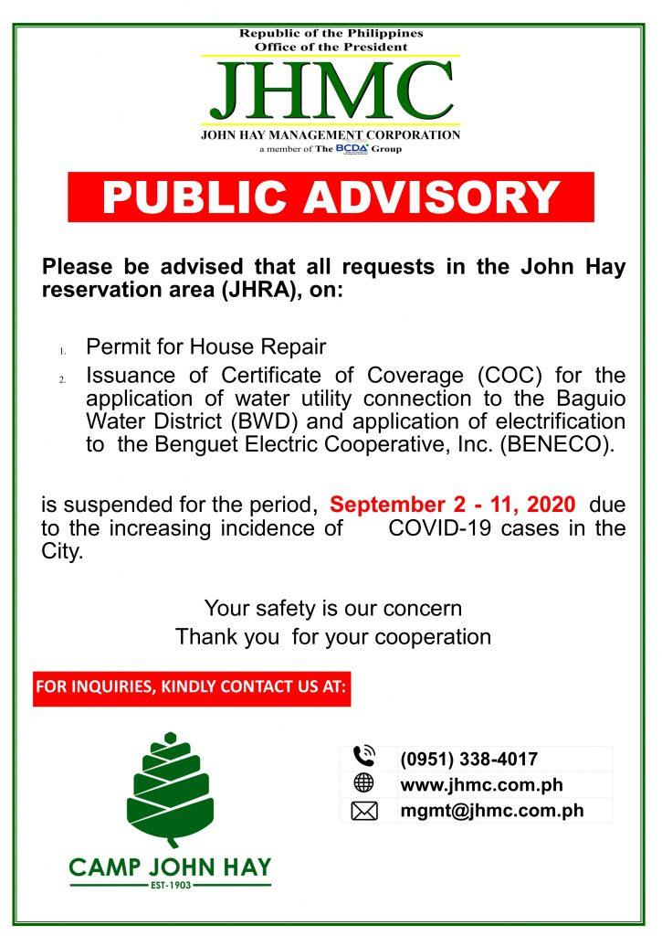JHMC Public Advisory: House Repair and COC
