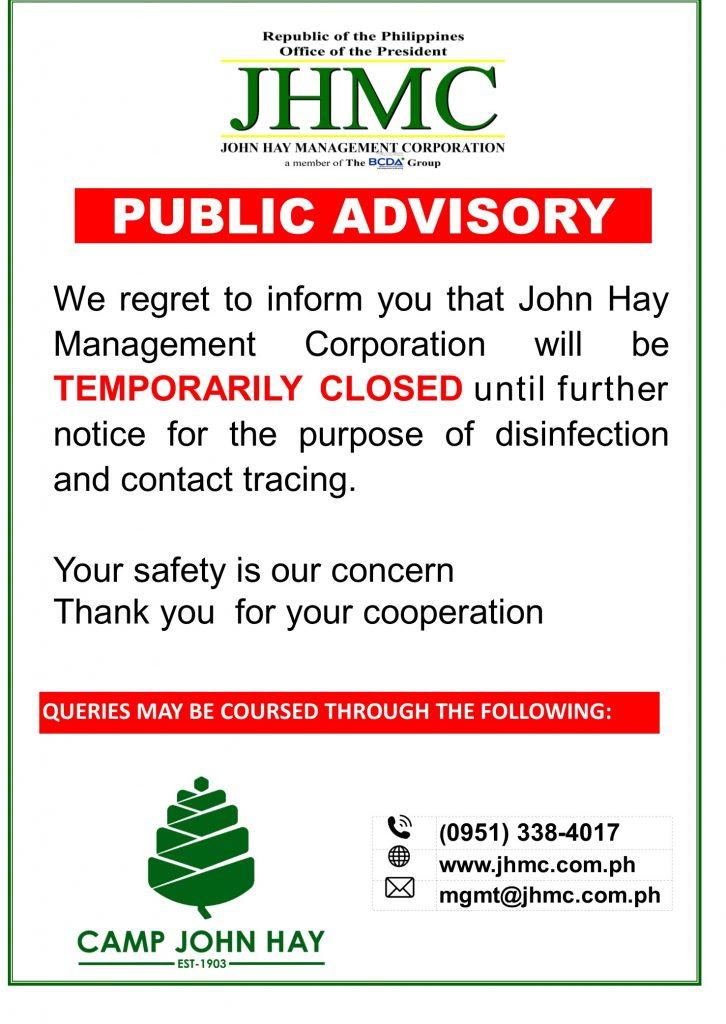 JHMC Temporary Close