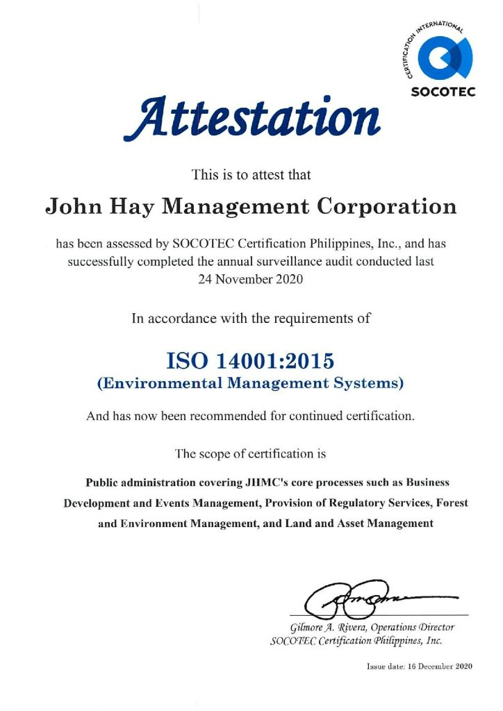 Continued Certification of ISO 14001:2015